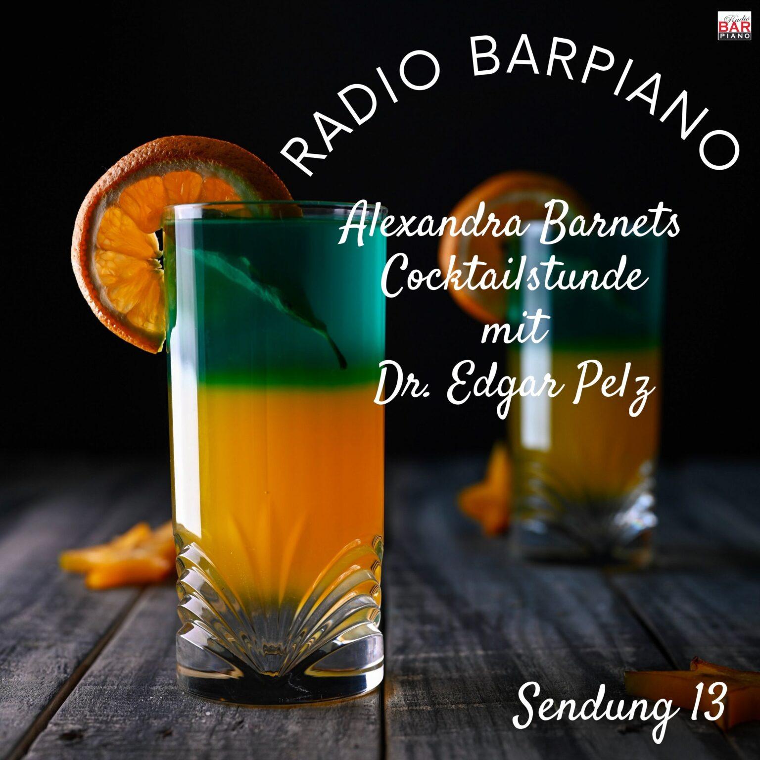 Titelbild für den Podcast für Radio Barpiano. Zwei Cocktails.